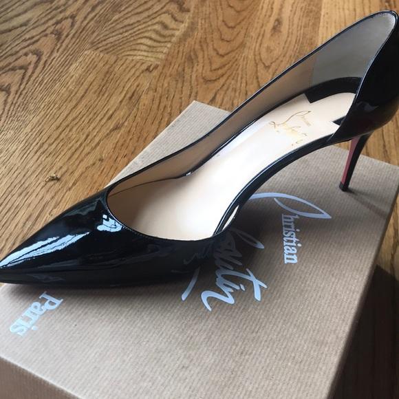 official photos 7414c 24cee Christian Louboutin Iriza 70 Patent Black Heels